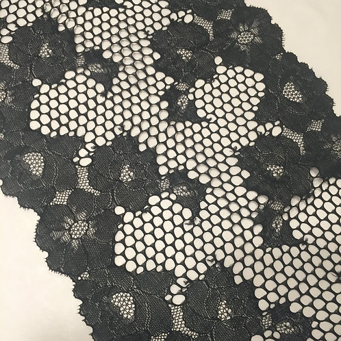 "7.5""/19.5cm Black Fishnet & Floral Stretch Galloon Lace"