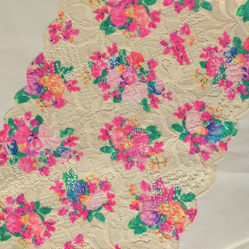 "7.5""/19.5cm Watercolor Floral Printed On Cream Stretch Galloon Lace"