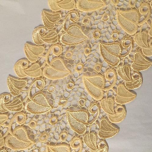 """7.25""""/18.4cm Non Stretch Guipure Embroidered Fall Harvest Dark Cream Lace"""