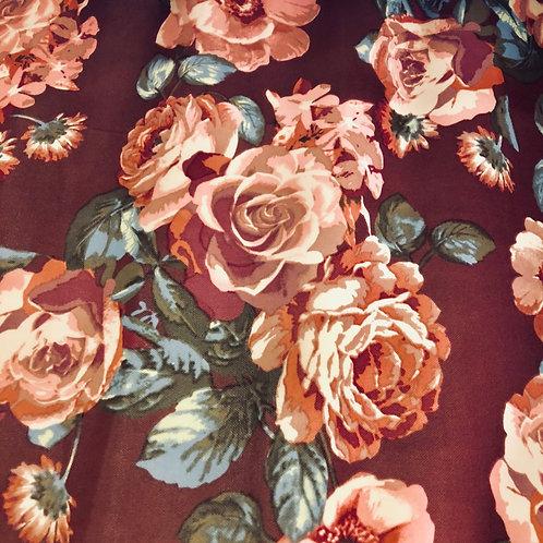 Harvest Floral on Burgundy S