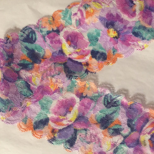 "3""/7.6cmm Purple Floral Narrow Stretch Lace Trim"