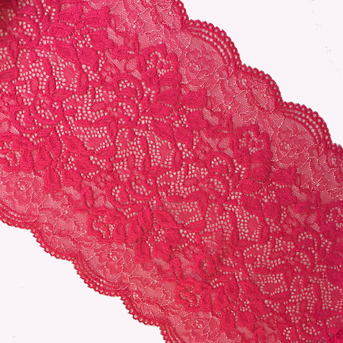 """9""""/22.8cm Hot Pink Stretch Galloon Lace"""