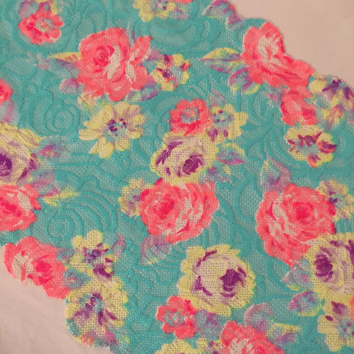 "8.75""/22cm Aqua Bright Floral Printed Stretch Galloon Lace"
