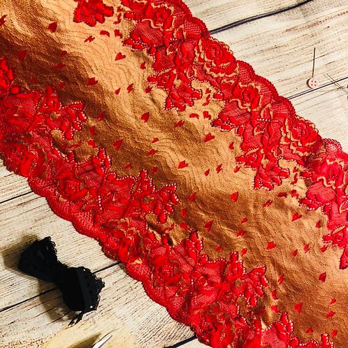 "9""/22.8cm Gold & Red Myrtle Stretch Galloon Lace"