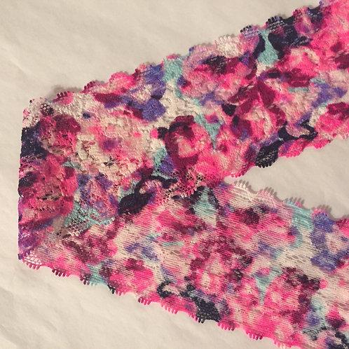"2.25""/5.7cm Pink Watercolour Floral Narrow Stretch Lace Trim"