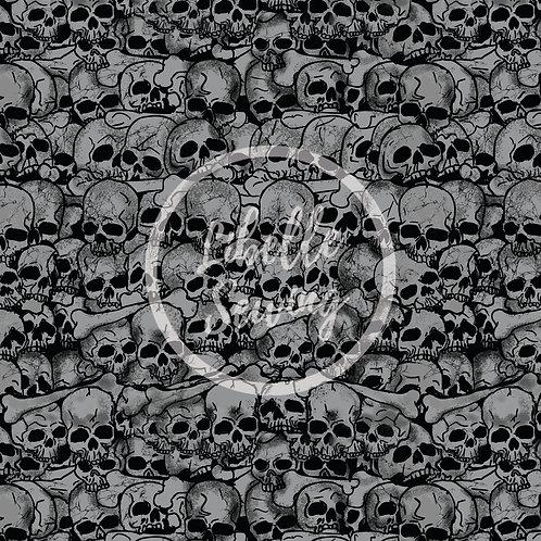 Cotton Lycra - Catacombs of Paris (Grey) - 1/2 Yard