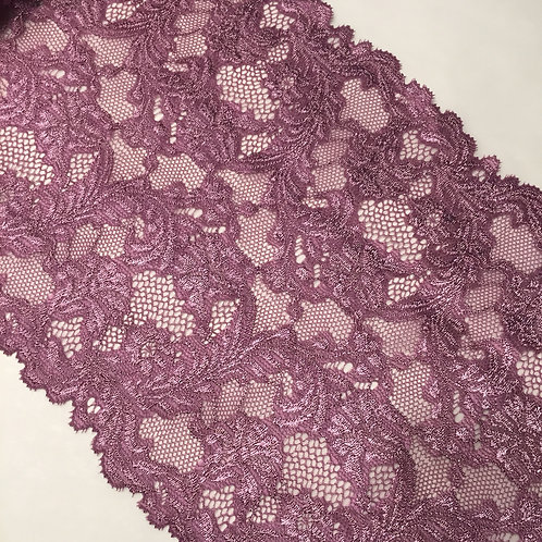 "7.25""/18.4cm Purple Sea Scrolls Stretch Galloon Lace"