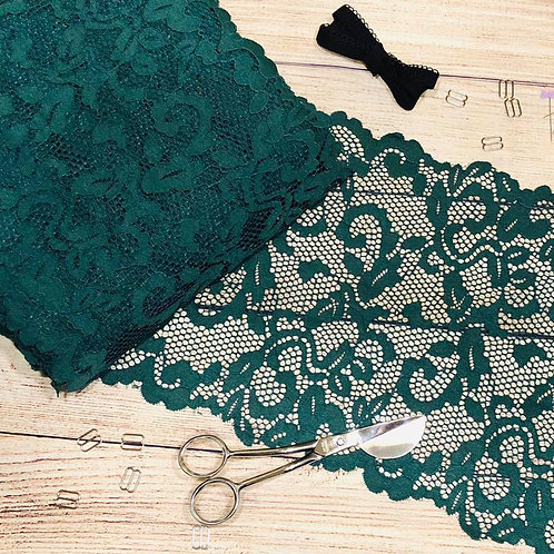 "9""/22.8cm Emerald Scroll Stretch Galloon Lace"