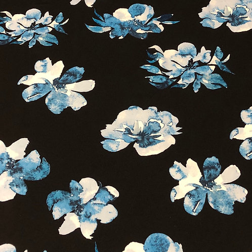 Scuba Crepe - Large Blue Watercolour Floral