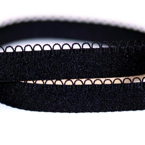 "Black (1/2""/12mm) Mini Loop Picot Bra Elastic"