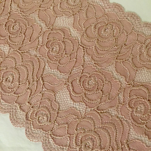 "7.25""/18.4cm Plush Mauve Roses Stretch Galloon Lace"