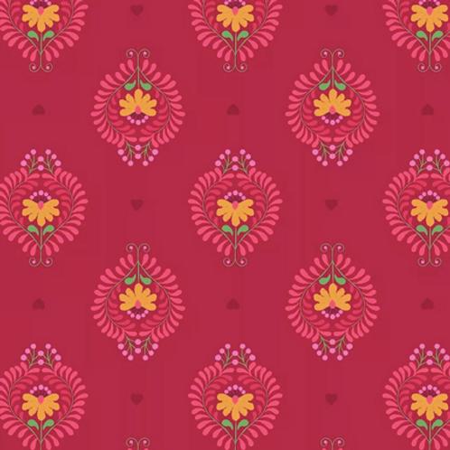 Lewis & Irene - Heart Floral - Deep Rose