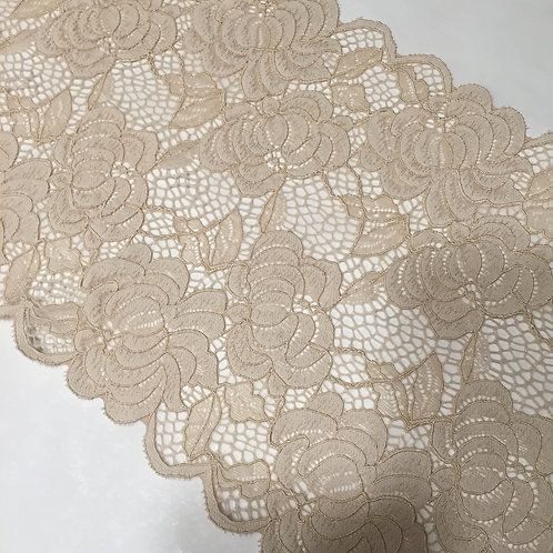 """7.5""""/19.5cm Beige Floral Mesh Stretch Galloon Lace"""