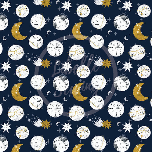 1/2 Yard - Cotton Lycra -  Sassy Planets