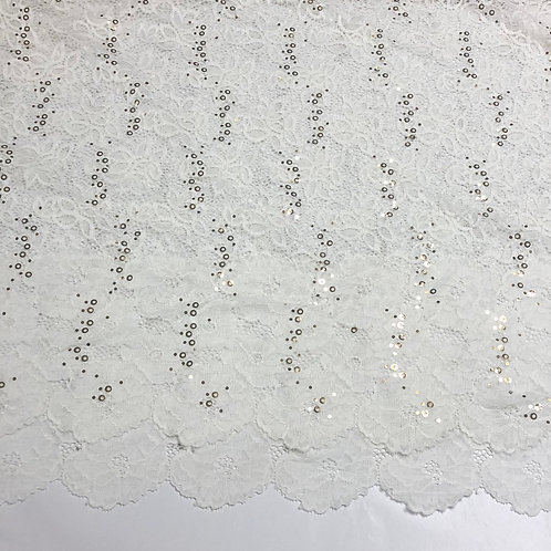 "Off White 60"" Wide Sequin Stretch Lace"