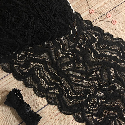 """7.5""""/19.5cm Black Marble Stretch Galloon Lace"""