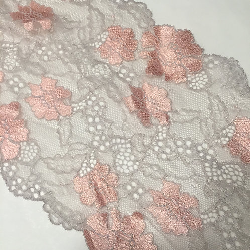 """7.5""""/19.5cm Grey & Satin Pink Floral Stretch Galloon Lace"""