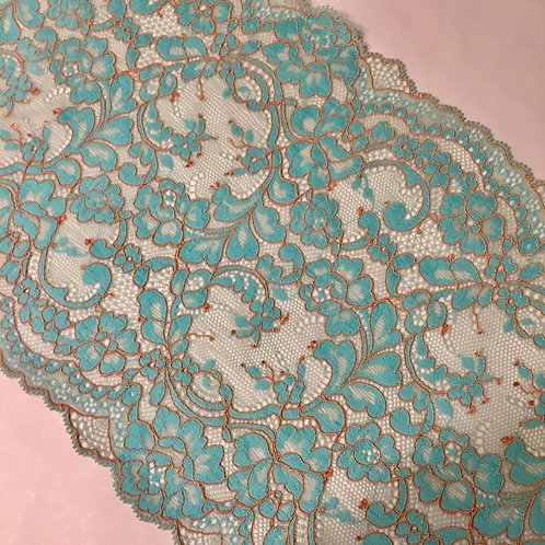 """9""""/22.8cm Ottoman Copper & Teal Stretch Galloon Lace"""
