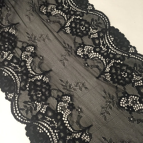 "8""/20cm Black Floral Stretch Galloon Lace"
