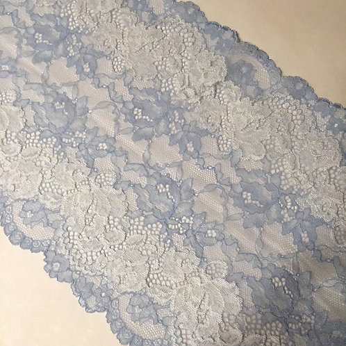 """8.25""""/21cm Cinderella Blue & White Floral Stretch Galloon Lace"""