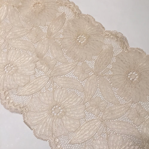 "7""/17.75cm Cream Metallic Daisies Stretch Galloon Lace"