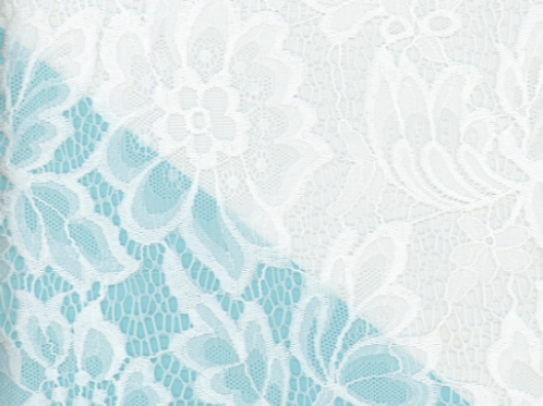 """1/2 Metre White Floral Lace 60"""" Wide"""