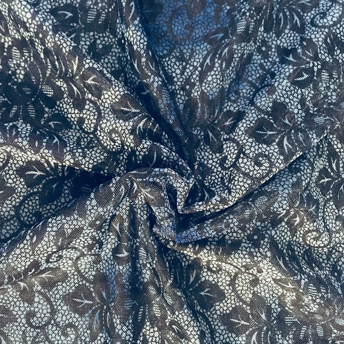 Dark Blue Floral Printed Mesh