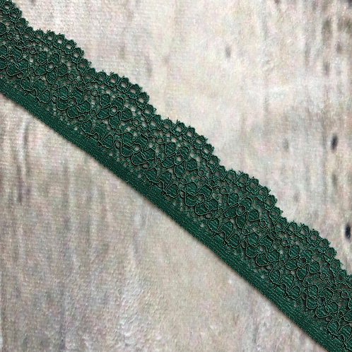 "1"" Narrow Stretch Lace - Emerald"