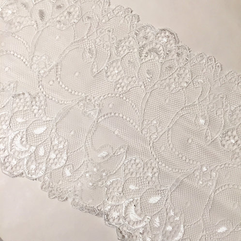 """7""""/17.75cm White Floral Fans Satin Acct. Stretch Galloon Lace"""
