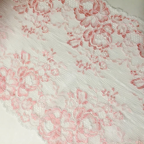 """8.5""""/21.5cm White & Light Pink Floral Stretch Galloon Lace"""