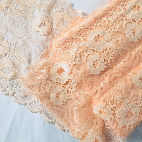 """9""""/22.8cm Floral Peach Stretch Galloon Lace"""