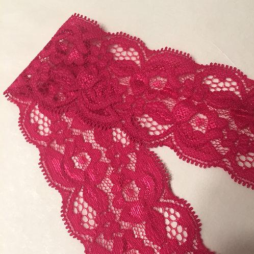 """2""""/5cm Magenta Narrow Stretch Lace Trim"""
