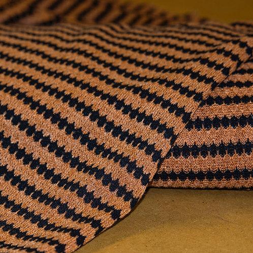 1/2 Metre Honey & Black Scalloped Stripe Sweater Knit