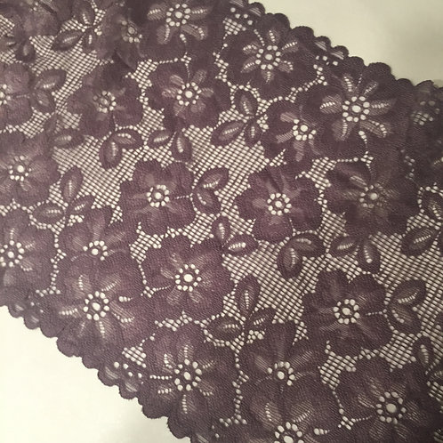 "8.25""/23cm Blackberry Mesh Floral Stretch Galloon Lace"