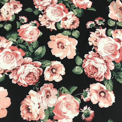 Blush Floral on Black Scuba (10 Metre Bolt)