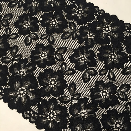 "8.25""/23cm Black Floral Mesh Floral Stretch Galloon Lace"