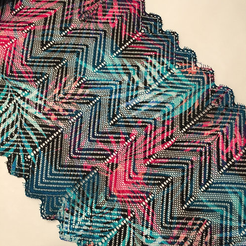 """6.75""""/17.1cm Teal Palms Stretch Galloon Lace"""