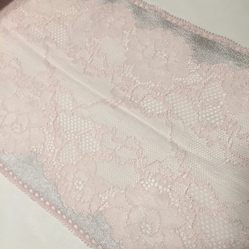 """6.75"""" Light Pink & Silver Stretch Galloon Lace"""