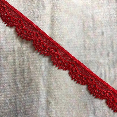 "0.75"" Narrow Stretch Lace - Red"