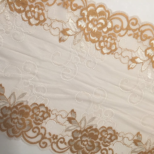 """9.5""""/24.1cm Golden Wheat Stretch Galloon Lace"""