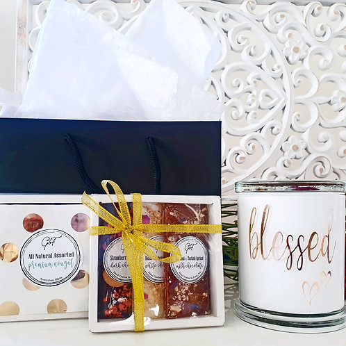 Deluxe Candle & Treat Trio Gift Bag Set