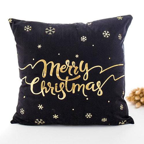 Merry Christmas Gold Metallic Cushion Cover - Black