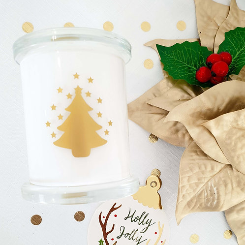 Metallic Decal Christmas Soy Candle - Medium