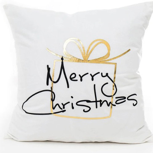 Merry Christmas Gold Metallic Present Cushion Cover