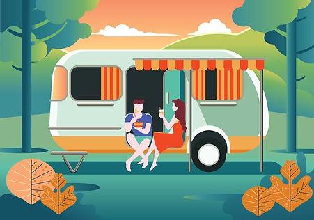 vector-happy-couple-stay-in-caravan-on-s