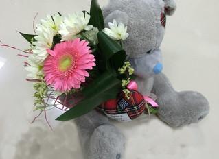 Романтичный Мишаня с букетом