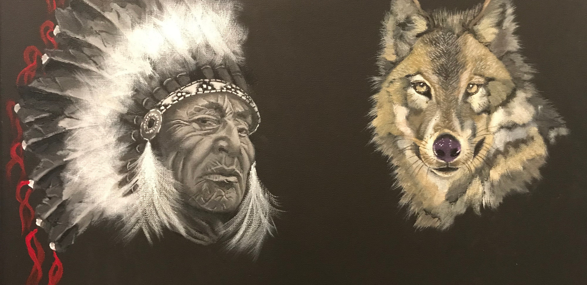 NATIVE CHIEF AND WOLF
