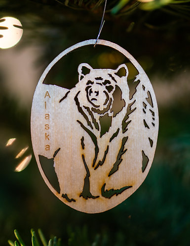 Christmas Ornament - Grizzly with Tree