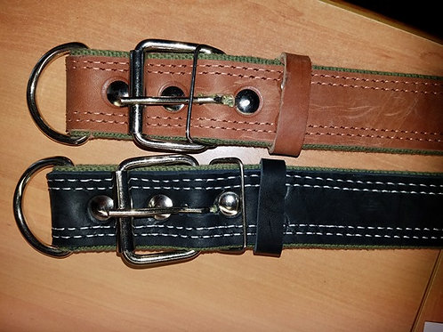 Working/training leather collar black/brown