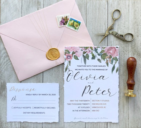 Pink Floral Invitation Set